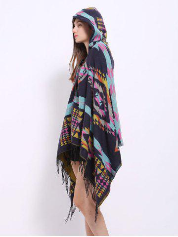 Outfit Winter Ethnic Style Fringe with Hat Poncho - BLACK  Mobile