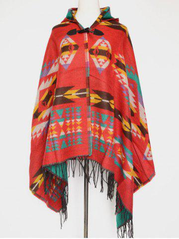 Outfit Winter Ethnic Style Fringe with Hat Poncho RED