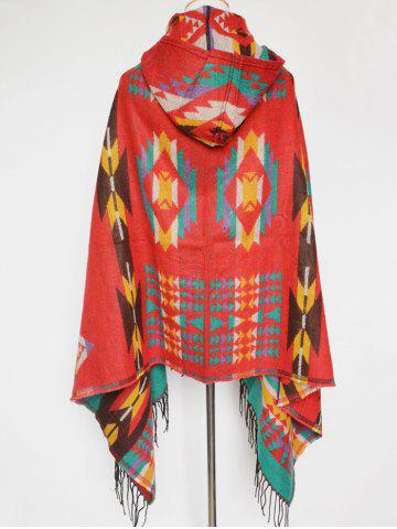 Chic Winter Ethnic Style Fringe with Hat Poncho - RED  Mobile