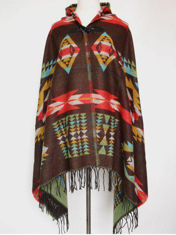 Chic Winter Ethnic Style Fringe with Hat Poncho OLIVE GREEN