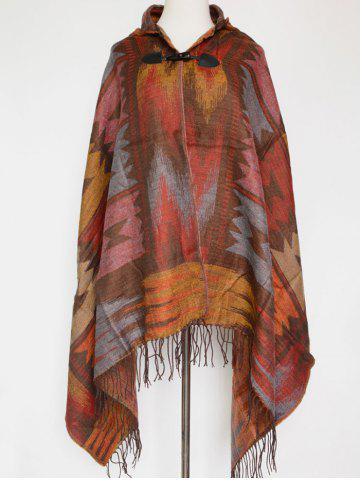 Trendy Winter Ethnic Style Fringe with Hat Poncho VERMILION