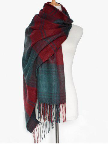 Simple Double Color Plaid Fringe Knitted Wrap Scarf - Dark Red - Xl