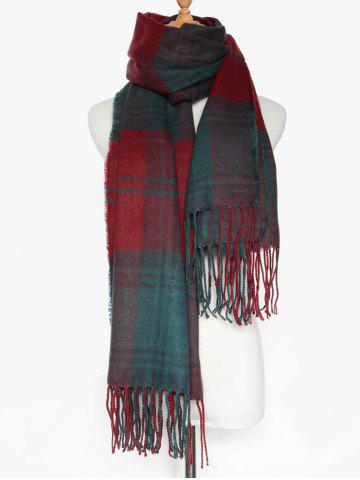 Unique Simple Double Color Plaid Fringe Knitted Wrap Scarf - DARK RED  Mobile