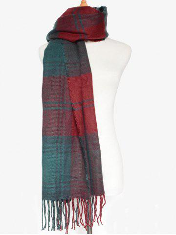Best Simple Double Color Plaid Fringe Knitted Wrap Scarf - DARK RED  Mobile