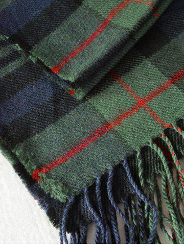 Fancy Simple Double Color Plaid Fringe Knitted Wrap Scarf - OLIVE GREEN  Mobile