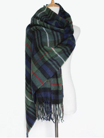 Unique Simple Double Color Plaid Fringe Knitted Wrap Scarf OLIVE GREEN