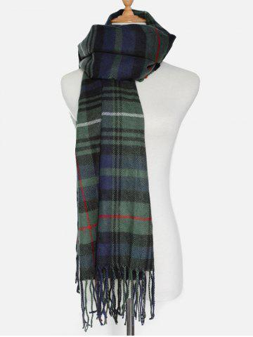 Cheap Simple Double Color Plaid Fringe Knitted Wrap Scarf - OLIVE GREEN  Mobile