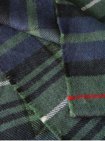 Sale Simple Double Color Plaid Fringe Knitted Wrap Scarf - OLIVE GREEN  Mobile
