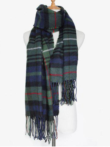 Best Simple Double Color Plaid Fringe Knitted Wrap Scarf - OLIVE GREEN  Mobile