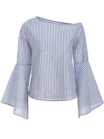 Striped Print Bell Sleeves Blouse - BLUE S
