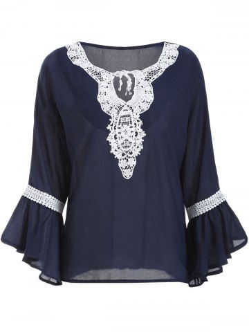 Cheap Guipure Lace Up Bell Sleeves Blouse DEEP BLUE XL