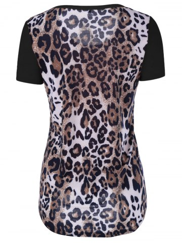 Online Single Pocket Leopard Asymmetrical T-Shirt - XL BLACK Mobile