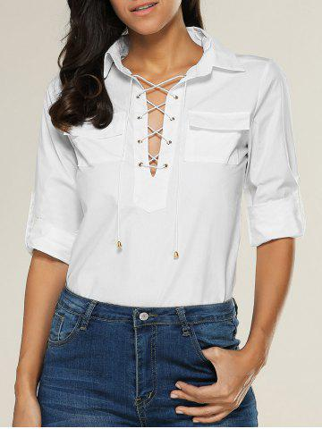 Affordable Lace Up Double Pocket Blouse