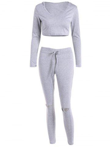 Hot Cut Out Pants with Cropped Hoodie