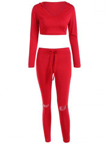 Store Cut Out Pants with Cropped Hoodie