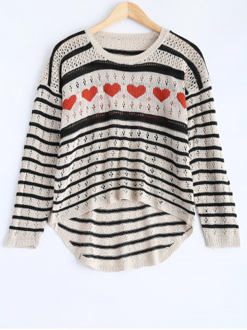 Outfits Striped Cut Out Sweater BLACK ONE SIZE