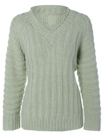 Fashion Cable Knit V Neck Sweater