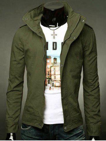 Fancy Stand Collar Epaulet Design Zip-Up Jacket