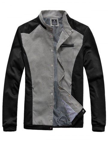 Checked Splicing Zipper Pocket Embellished Stand Collar Jacket - Black - 3xl