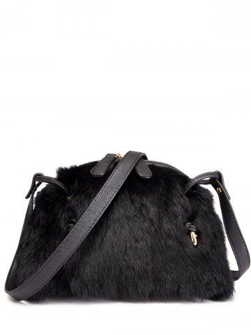 Sale PU Leather Spliced Fuzzy Bag