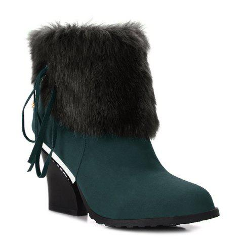 Online Chunky Heel Faux Fur Chain Short Boots