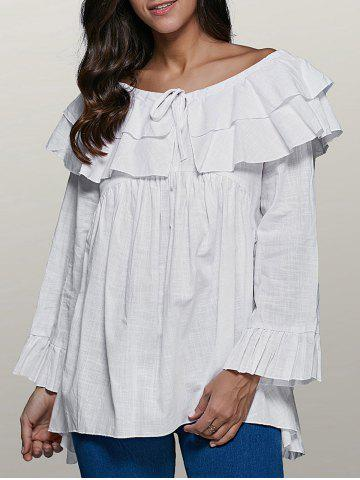 Sale Round Neck Flare Sleeve String Flounce Ruffles Blouse
