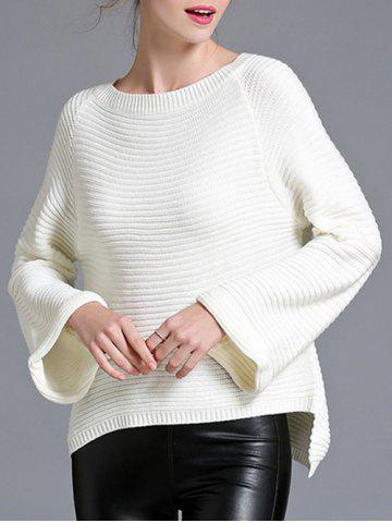 Hot Flare Sleeve High Low Pullover Sweater
