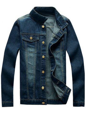Trendy Mock Pocket Design Button Up Denim Jacket