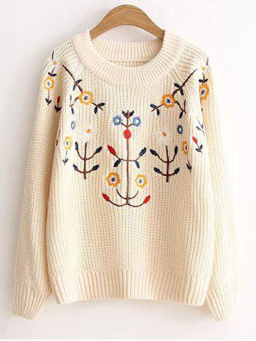 Discount Floral Embroidered Vintage Sweater