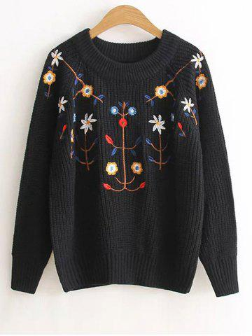 Floral Embroidered Vintage Sweater - Black - One Size