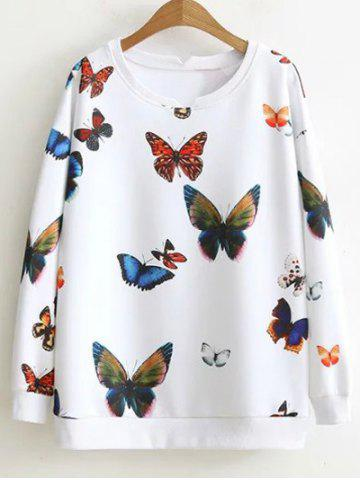 Shop Loose Butterfly Colorful Sweatshirt WHITE XL