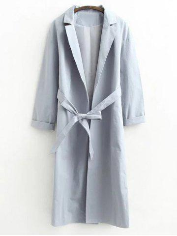 Chic Long Wrap Belted Raglan Sleeve Maxi Trench Coat