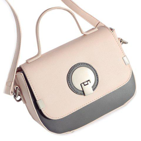 Color Spliced Metal PU Leather Crossbody Bag - Shallow Pink