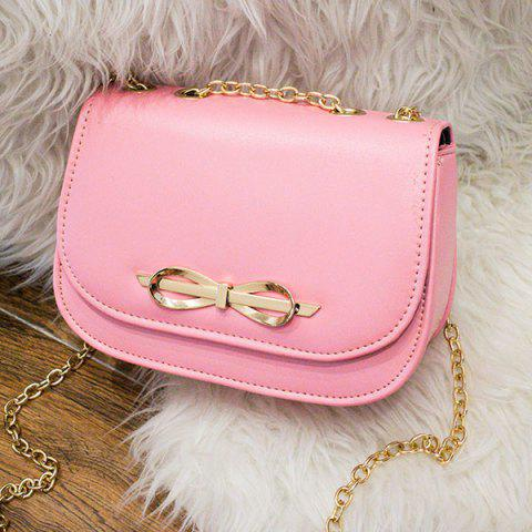 Outfit Metal Bowknot Chains Crossbody Bag PINK