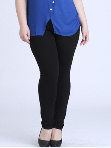 Plus Size Skinny Elastic Waist Pencil Pants - Black - Xl