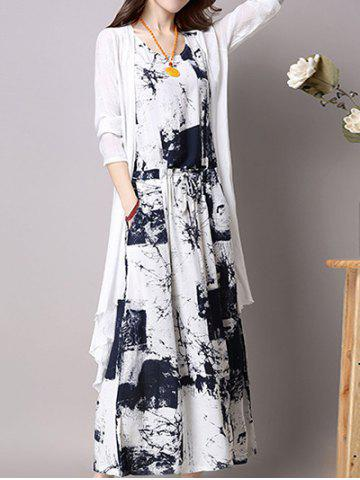 Affordable Maxi Elastic Waist Printed Dress and Cardigan