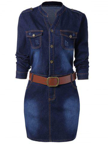 Buy Buttoned Long Sleeve Plus Size Denim Dress BLUE 2XL