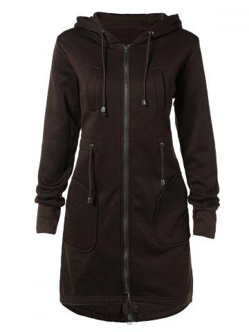 Buy Drawstring Hooded Coat Pockets - Brown 2XL