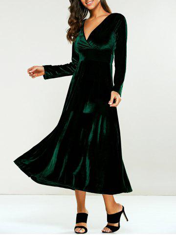 Latest Surplice Velvet Tea Length Long Sleeve Dress