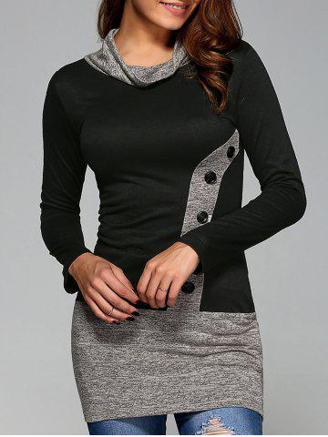 Shops Buttoned Heathered Spliced Blouse BLACK L