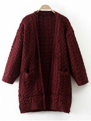 Cheap Cable Knit Thickening Cardigan WINE RED ONE SIZE
