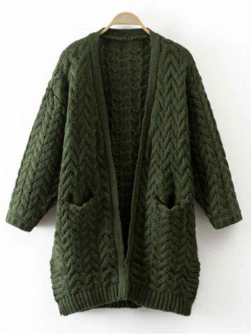 Cable Knit Thickening Cardigan - Green - One Size