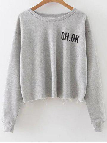 Latest Dropped Shoulder Graphic Crop Sweatshirt GRAY L