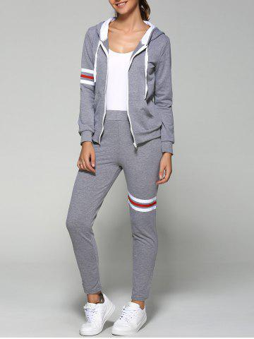 Buy Striped Zip Up Hoodie and Joggers Pants GRAY 2XL