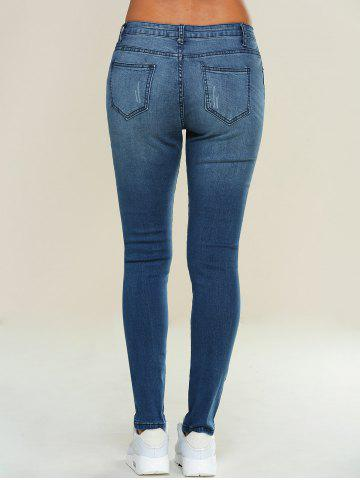 Shop Skinny Ripped Pencil Jeans - XL BLUE Mobile