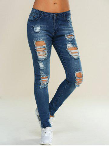 Fancy Skinny Ripped Pencil Jeans - L BLUE Mobile