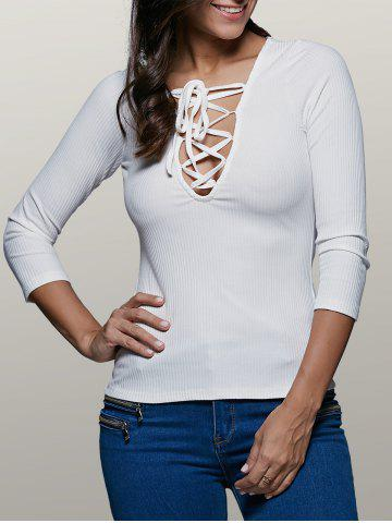 Unique Plunging Neck Long Sleeve Front Lace-Up Stretchy T-Shirt WHITE 2XL