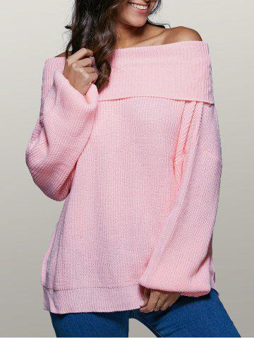 Outfits Lantern Sleeve Off The Shoulder Sweater PINK XL