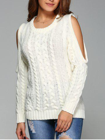 Online Cold Shoulder Cable Knit Sweater OFF WHITE M