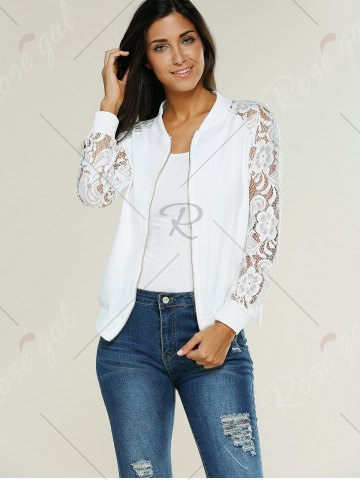 Shop Lace Insert Bomber Zip Up Jacket - XL WHITE Mobile